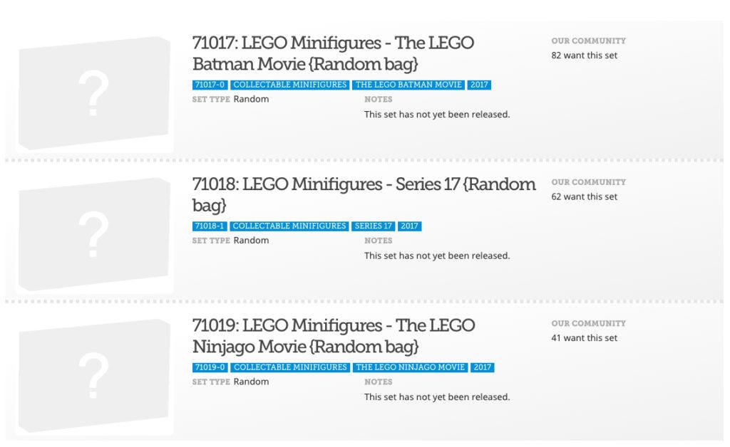 Brickset Minifigure listing for 2017