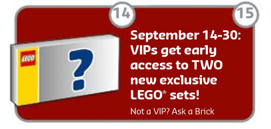 LEGO Brand Store Calendar September