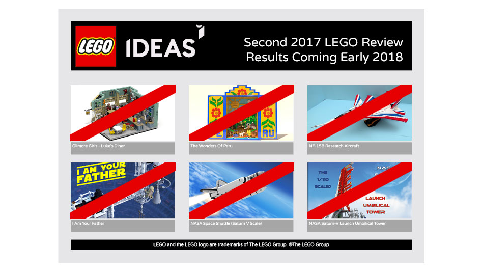 Brickfinder - LEGO Ideas Second 2017 Review Results Yields Zero Projects
