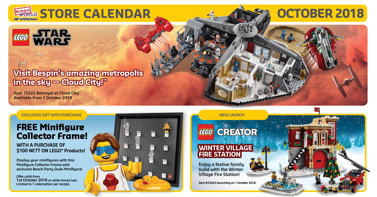 Brickfinder - Bricksworld LEGO Certified Store Calendar October 2018
