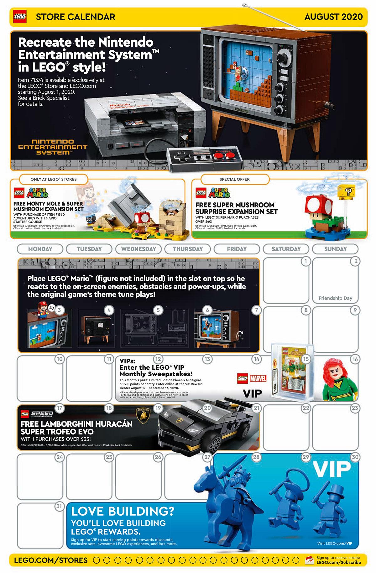 LEGO Brand Store Calendar August 2020