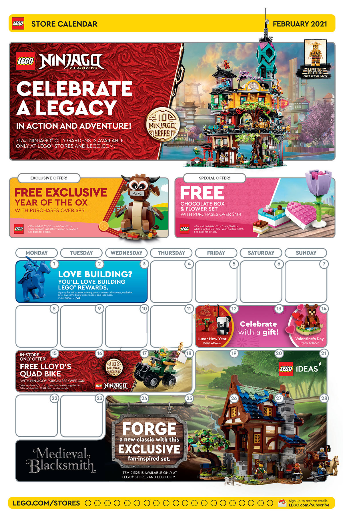 Brickfinder   LEGO Brand Store Calendar February 2021 Promotions